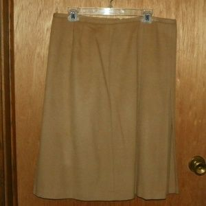 Ann Taylor Beige Wool A Line Skirt with Side Kick